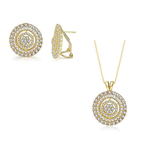 Deluxe Sunflower Pendant Necklace and Stud Earrings Jewelry Set 18K Gold Plated Silver