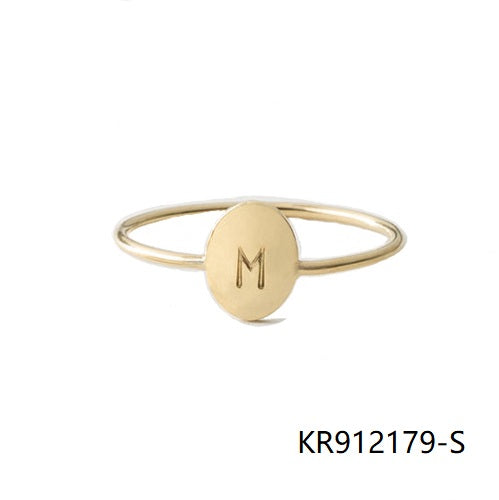 Engraved Oval Gold Plated Sterling Silver Ring-M