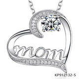 Mom Love Sterling Silver Necklace Heart Pendant with cz stone