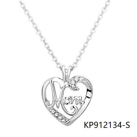Mom Silver Heart Necklace Pendant with Clear cz