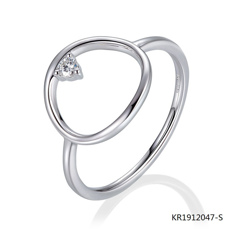 KadArt Orbit S925 Silver Engagement Ring with Clear CZ Stone