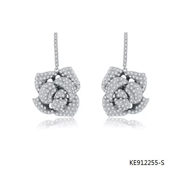 Pave Setting CZ Rose Drop Earrings in Sterling Silver