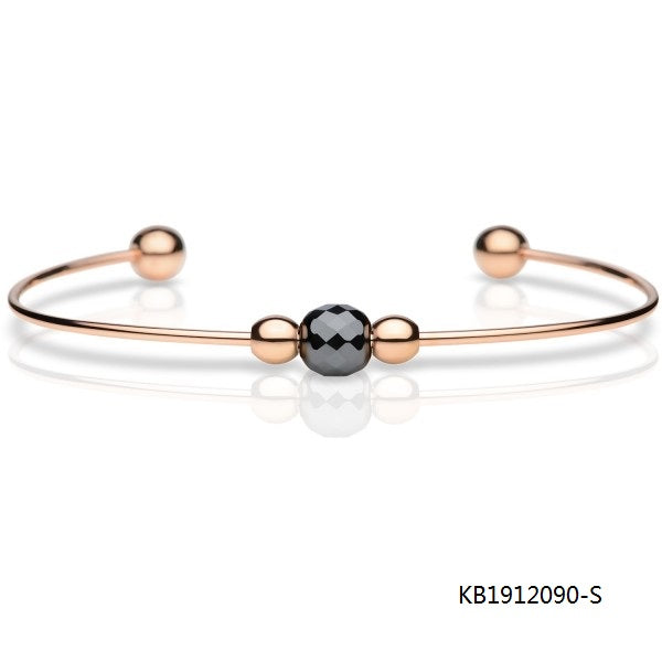Polished Rose Gold Plated Sterling Silver Diamond Cut Onxy Bead Bangle