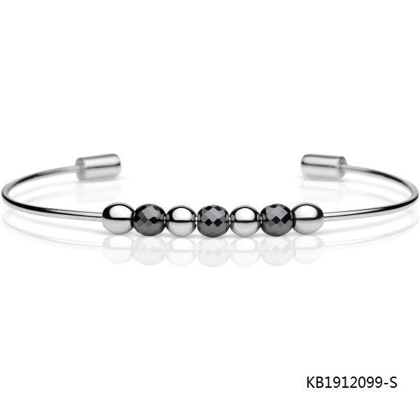 Polished Sterling Silver Diamond Cut Onxy Beads Bangle