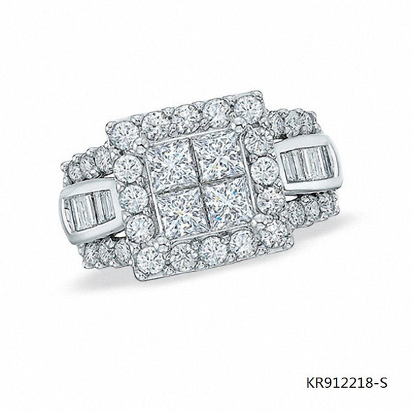 Princess Cut and Baguette CZ Stones Sterling Silver Engagement Ring