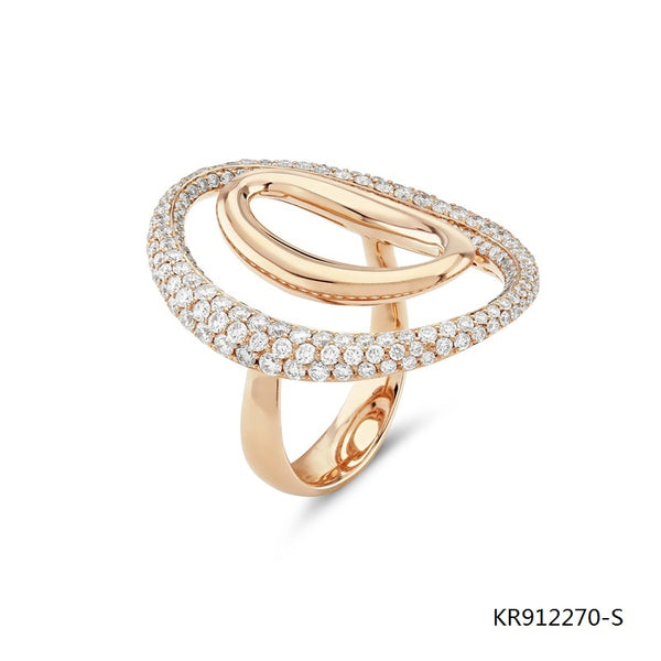 Rose Gold Plated Sterling Silver Surround Ring with Clear CZ Stones