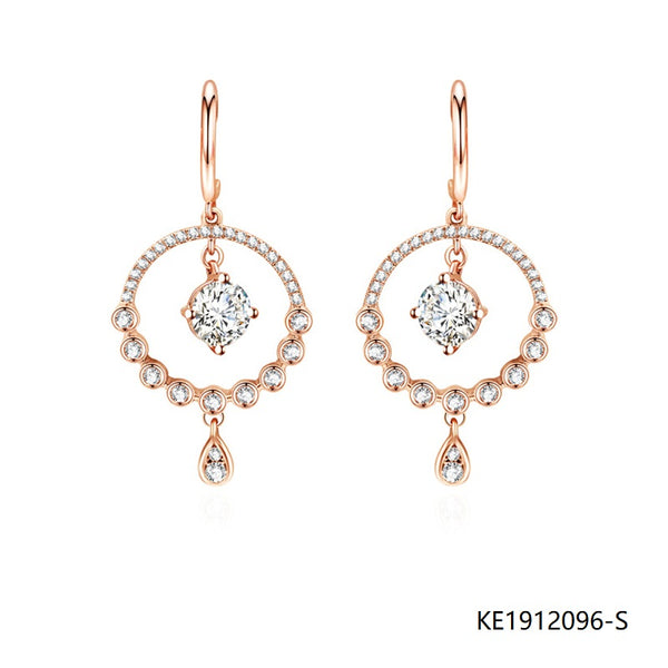 Cubic Zirconia Drop Earrings in Rose Gold Plated Sterling Silver