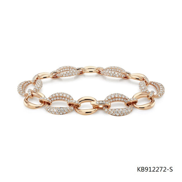 CZ Surround Bracelet in Rose Gold Plated Sterling Silver