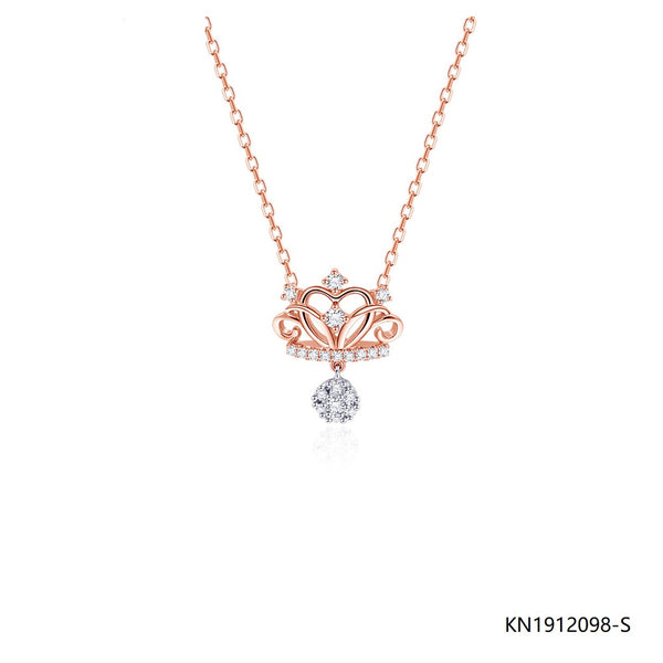 Rose Gold Plated CZ Crown Pendant Necklace in Sterling Silver