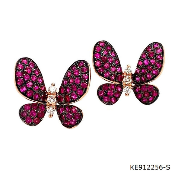 Ruby & CZ Butterfly Stud Earrings in Sterling Silver