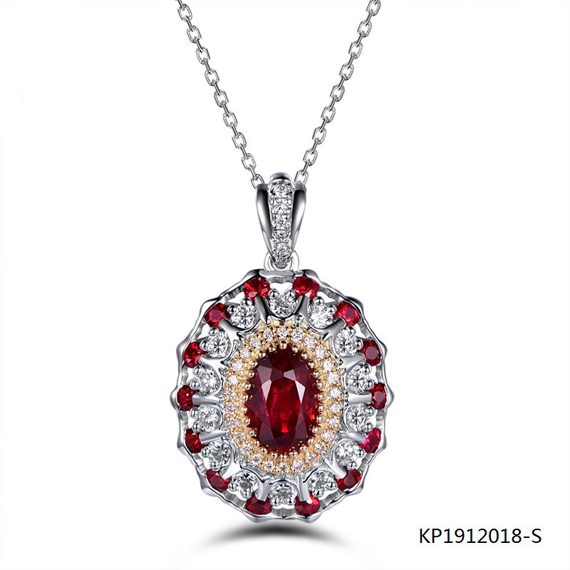 Ruby and Cubic Zirconia Necklace Pendant in Sterling Silver