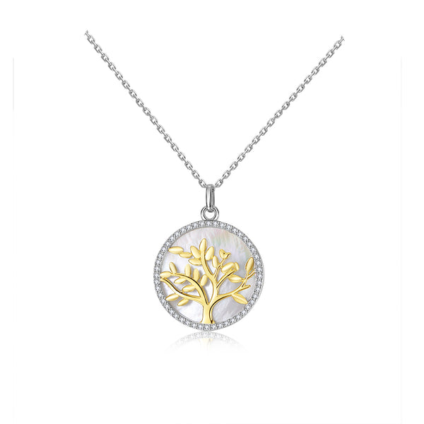 S925 Sterling Silver Tree of Life Pendant Necklace Mother of Pearl Jewelry for Women Men Gifts
