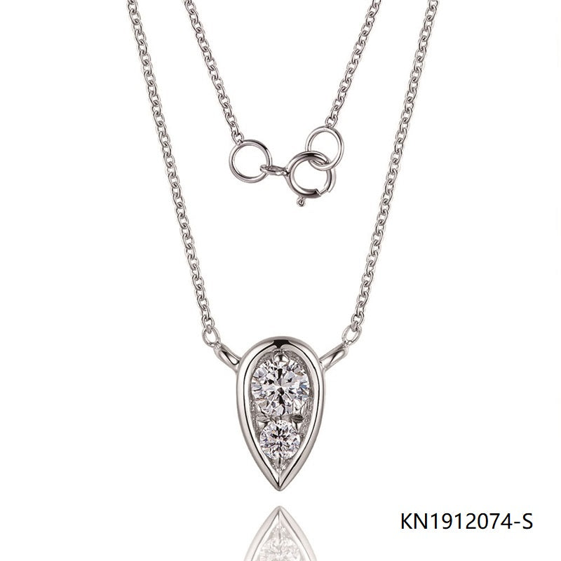 Kadart S925 Silver Necklace Waterdrop Pendant with Clear CZ stones