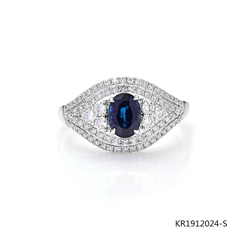 Oval/Round Blue Sapphire and CZ Evil Eye Engagement Ring in Sterling Silver