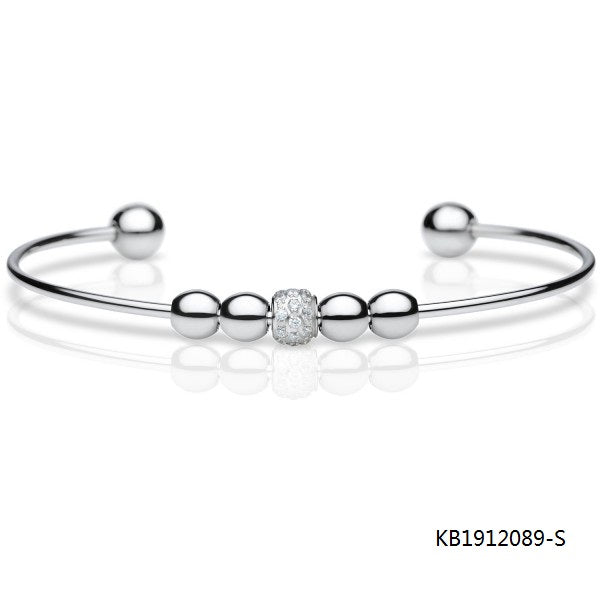 Sterling Silver Rotatable Cubic Zirconia Pearl Bead Bangle Bracelet