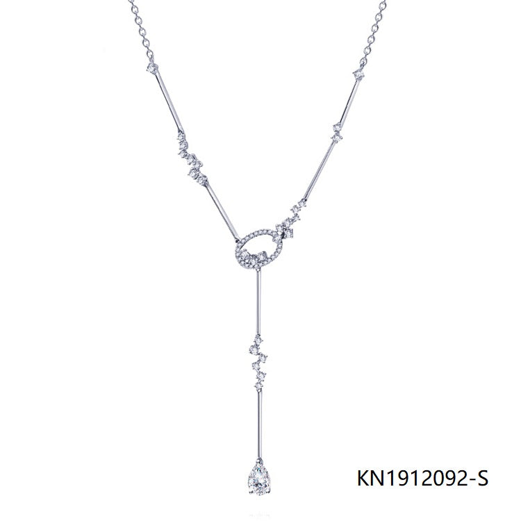 Long Thin Chain Sterling Silver Necklace Pear CZ Pendant