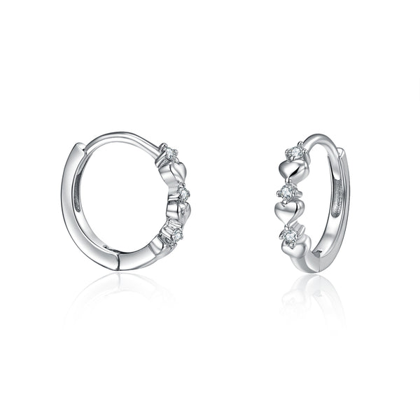 Sterling Silver Small Hoop Earrings Heart shaped Love Earrings with 5A CZ