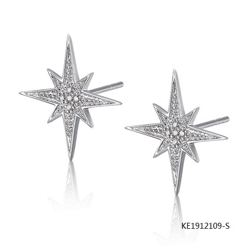 Star Sterling Silver Earring Studs with Clear AAA CZ Stones