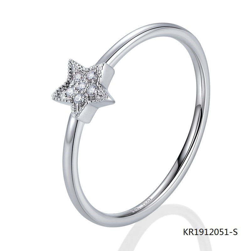 KadArt Star Sterling Silver Engagement Ring with AAA CZ Stones