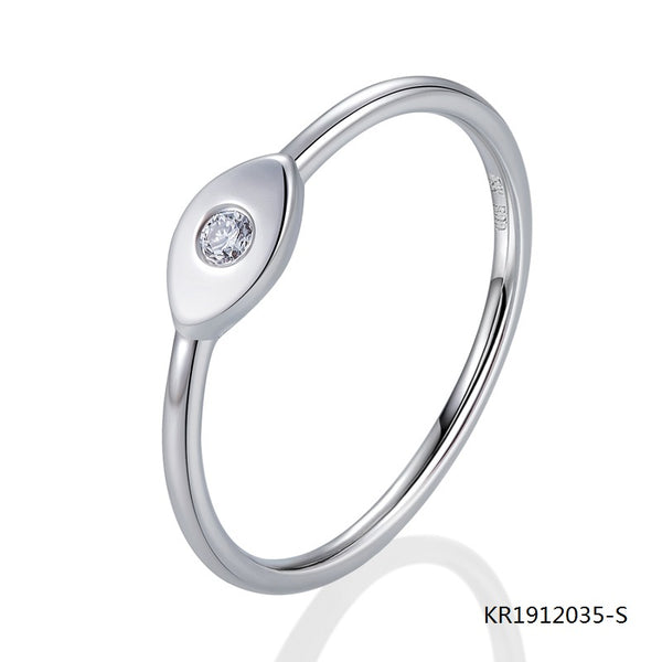 Sterling Silver Evil Eye Engagement Ring with AAA Center CZ Stone