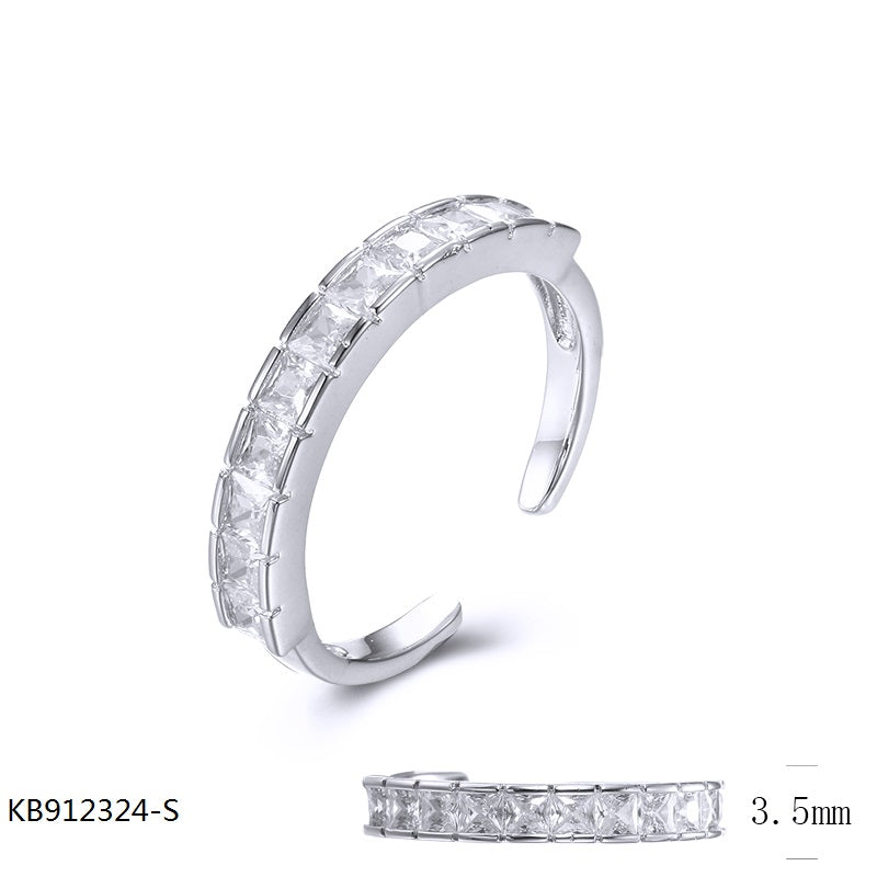 Sterling Silver Band Ring with Square Cubic Zirconia Stones for Wedding