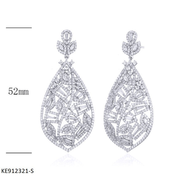 Vintage Sterling Silver Earrings with Clear CZ Stones for Wedding
