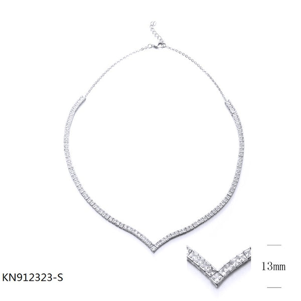 Sterling Silver Necklace with Square CZ Stones for Wedding