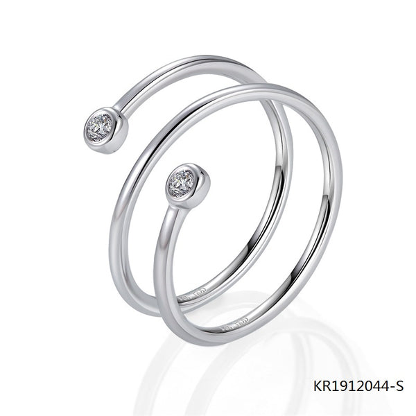 Kadart 3 Circles Sterling Silver Engagement Ring with 2 CZ Stones