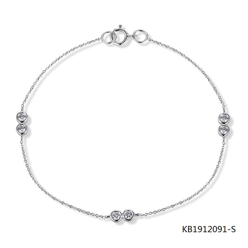 KadArt Sterling Silver Chain Bracelet With 3 CZ Stone Charms