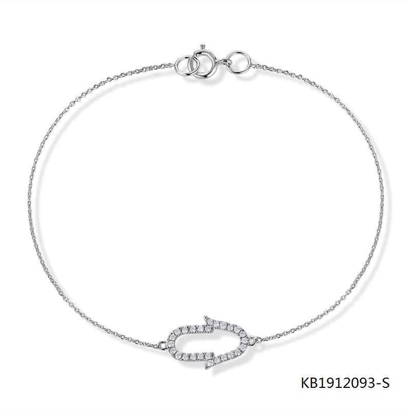 Sterling Silver Chain Bracelet Clear CZ Stones Charm