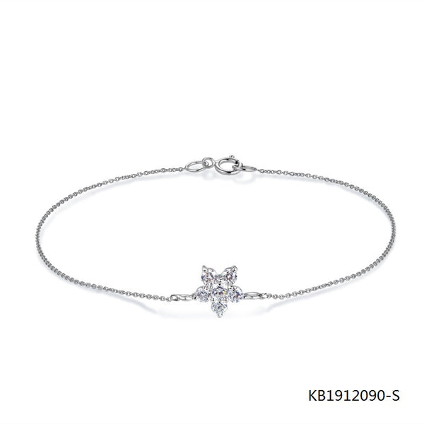 Sterling Silver Chain Bracelet Snowflake Charm with Clear CZ Stones
