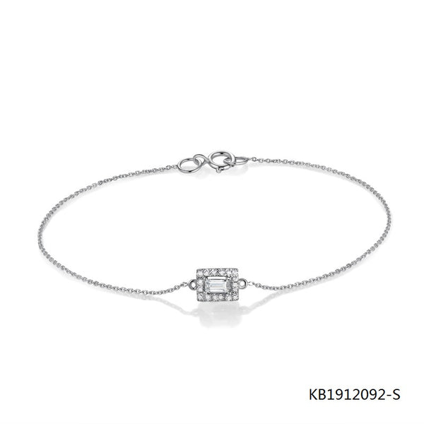 Sterling Silver Chain Bracelet and Baguette Charm with AAA CZ Stones
