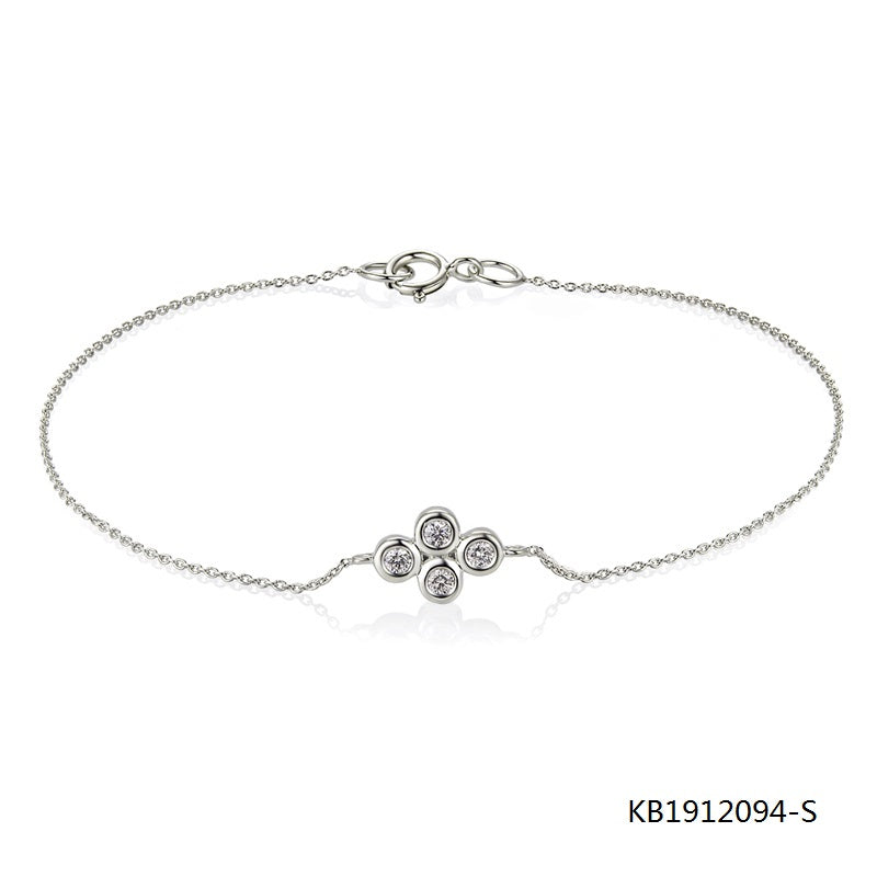 KadArt Sterling Silver Chain Bracelet and flower Charm with AAA CZ Stones