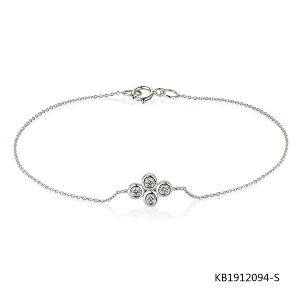 Sterling Silver Chain Bracelet and flower Charm with AAA CZ Stones
