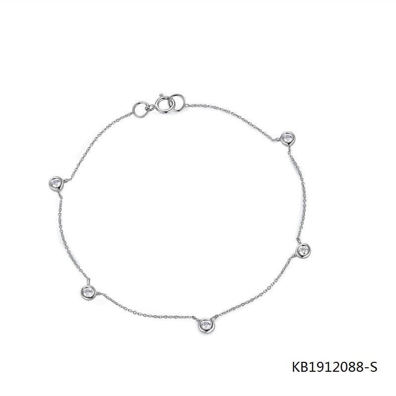 KadArt Sterling Silver Chain Bracelet With 5 CZ Stone Charms