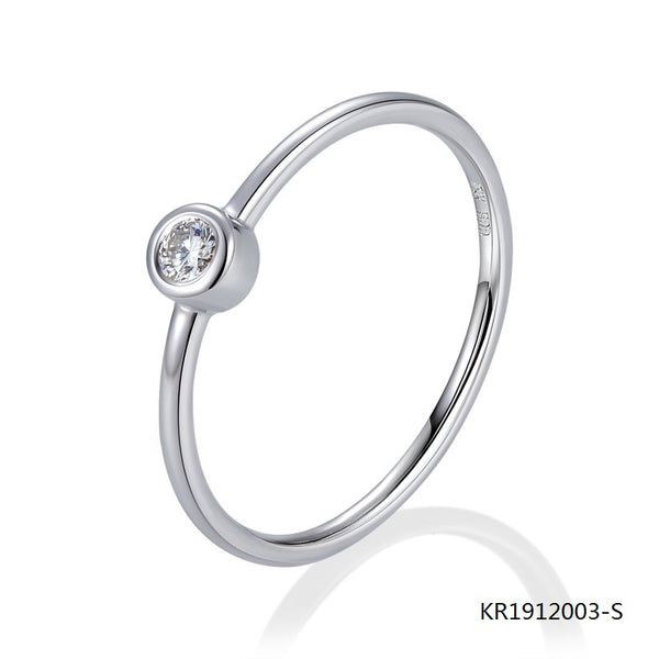 KadArt Sterling Silver Ring with A Clear Center Cubic Zirconia Stone