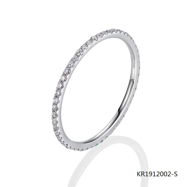 KadArt Sterling Silver Ring with Full Circle Clear Cubic Zirconia Stones