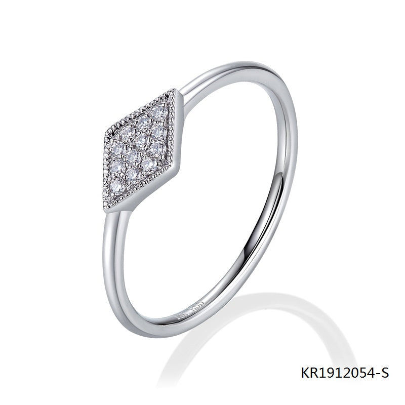 KadArt Sterling Silver Engagement Ring With Clear CZ Stones On Top