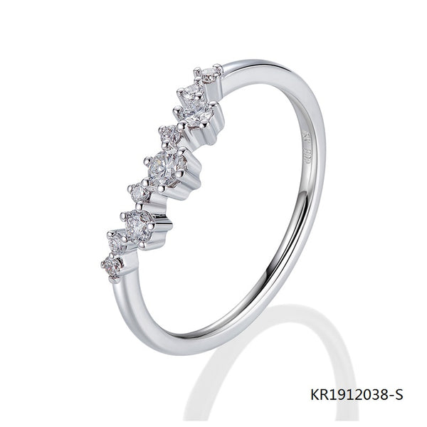 KadArt Sterling Silver Engagement Ring with CZ Stones