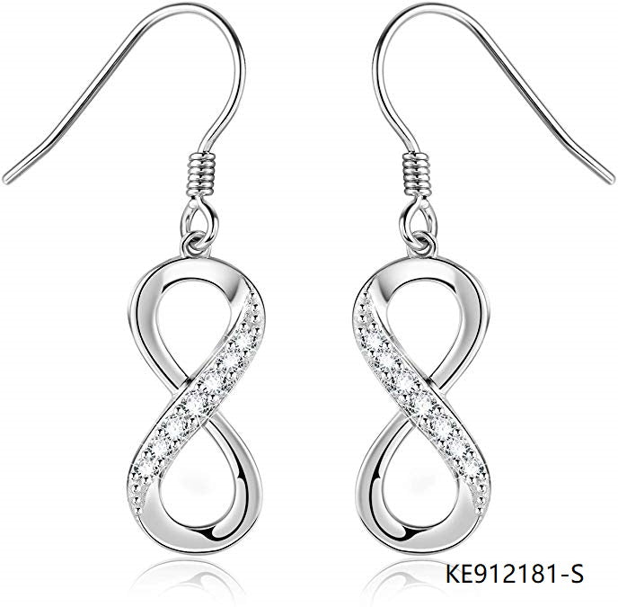 Sterling Silver Infinity Dangle Drop Earrings CZ Jewelry manufacturer wholesale