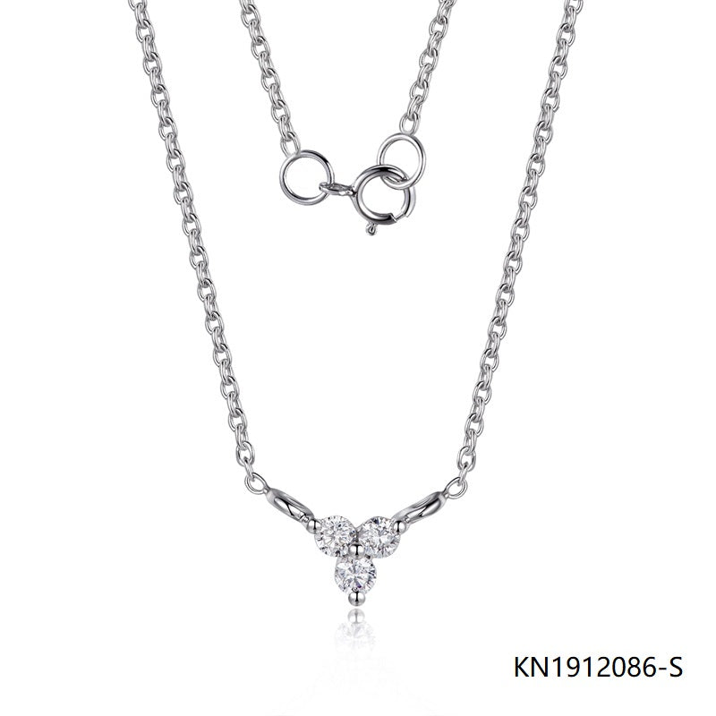 Kadart Sterling Silver Necklace In 3-Diamonds Peadant with CZ Stones