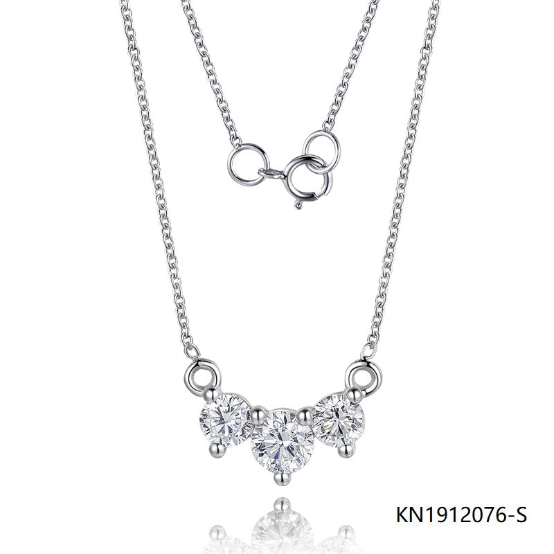 Kadart Sterling Silver Necklace In 3-stone Pendant with Clear Cubic Zirconia Stones
