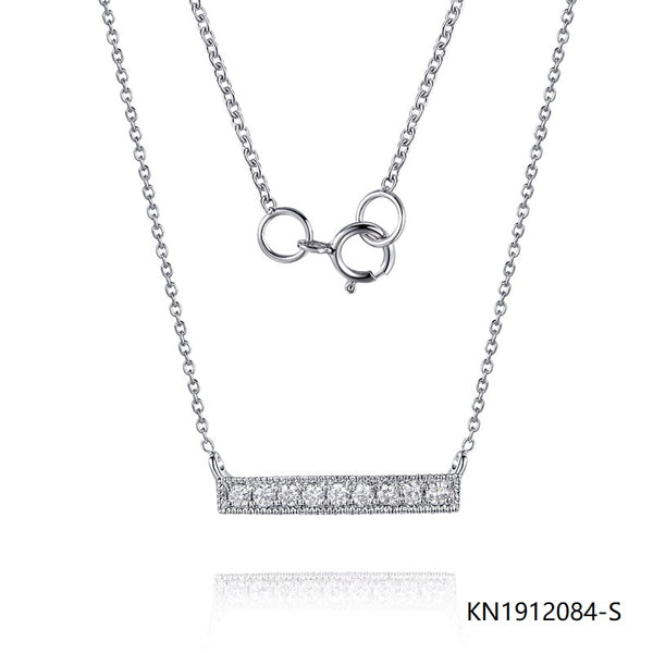 Kadart Sterling Silver Necklace In Bar Pendant with Clear CZ Stones