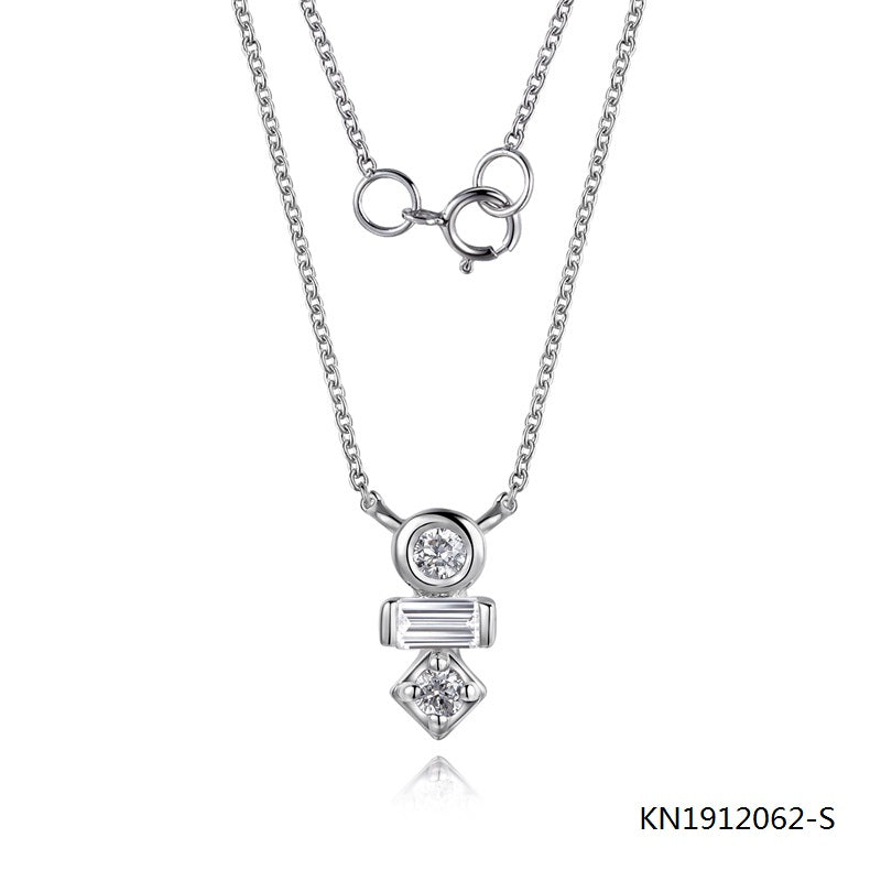 S925 Sterling Silver Necklace and Clear CZ Pendant