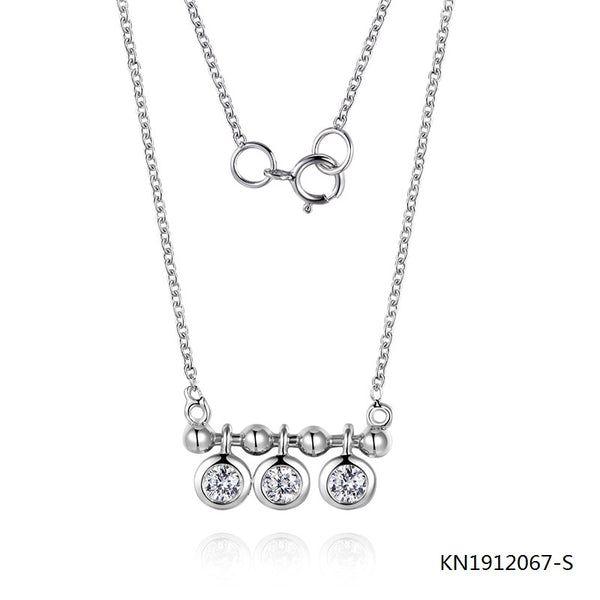 KadArt Sterling Silver Necklace In Classic Pendant with AAA CZ Stones