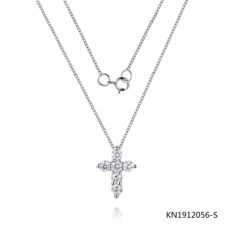 KadArt Sterling Silver Necklace In Cross Pendant with Clear CZ Stones
