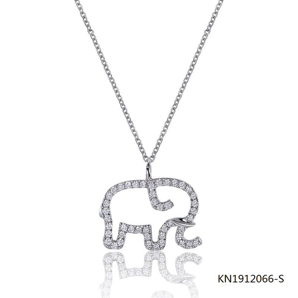 Sterling Silver Necklace In Elephant Pendant full of Clear AAA CZ Stones