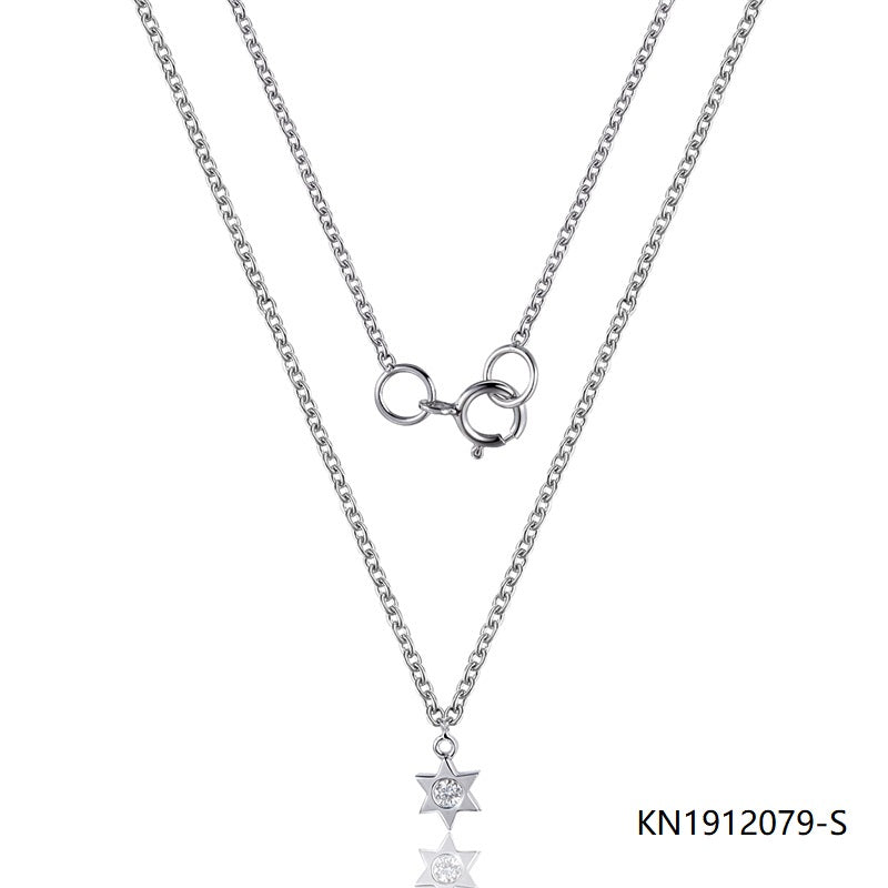 Kadart Sterling Silver Necklace In Hexagram Pendant with Clear CZ Stone