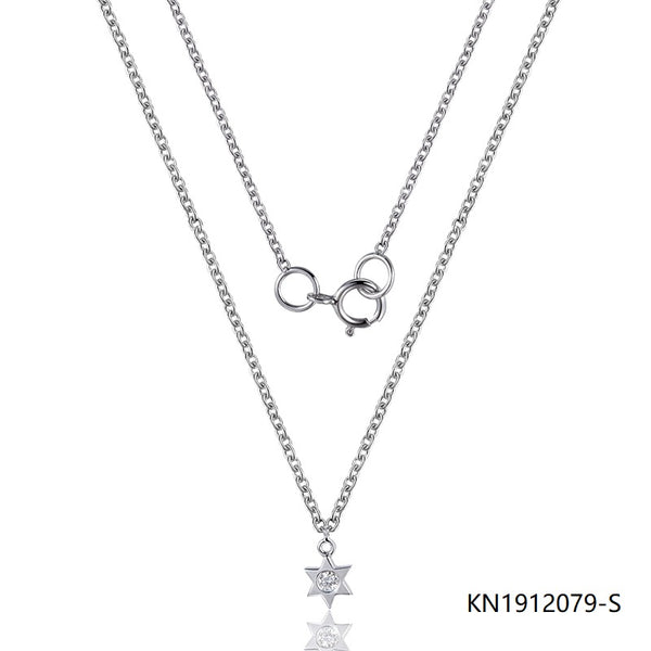 Sterling Silver Necklace In Hexagram Pendant with Clear CZ Stone