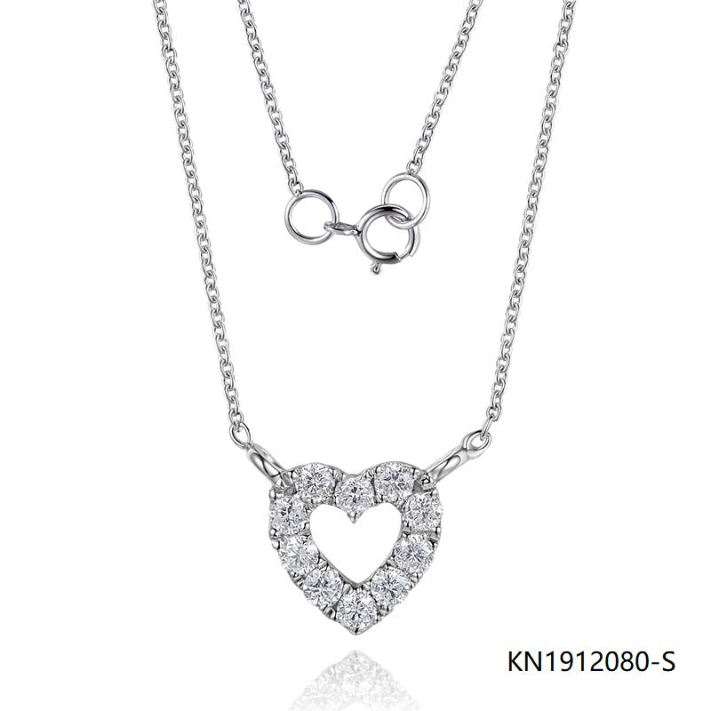 Kadart Sterling Silver Necklace In Hollow Love Heart Pendant with Clear CZ Stones